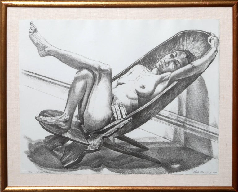 """Philip Pearlstein, """"African Chair,"""" Lithograph, 1980"""