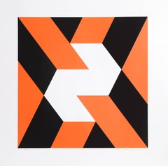 """Abstract in Orange and Black,"" Screenprint 1969"