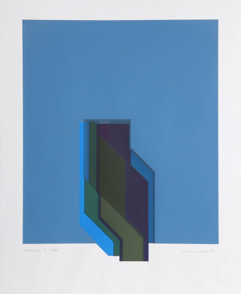 "Michael Hale Abstract Print - ""Andantes 5,"" Screenprint, 1987"