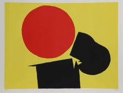 """""""Abstract with Red Sun,"""" Screenprint, circa 1970"""