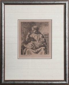 """Jean Francois Millet, """"La Boullie (The Porridge)"""", Drypoint Etching, 1861"""