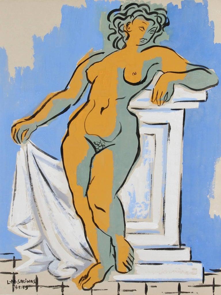 """Nude Study no. 47,"" Gouache on Paper, 1949 - Art by Laurent Marcel Salinas"