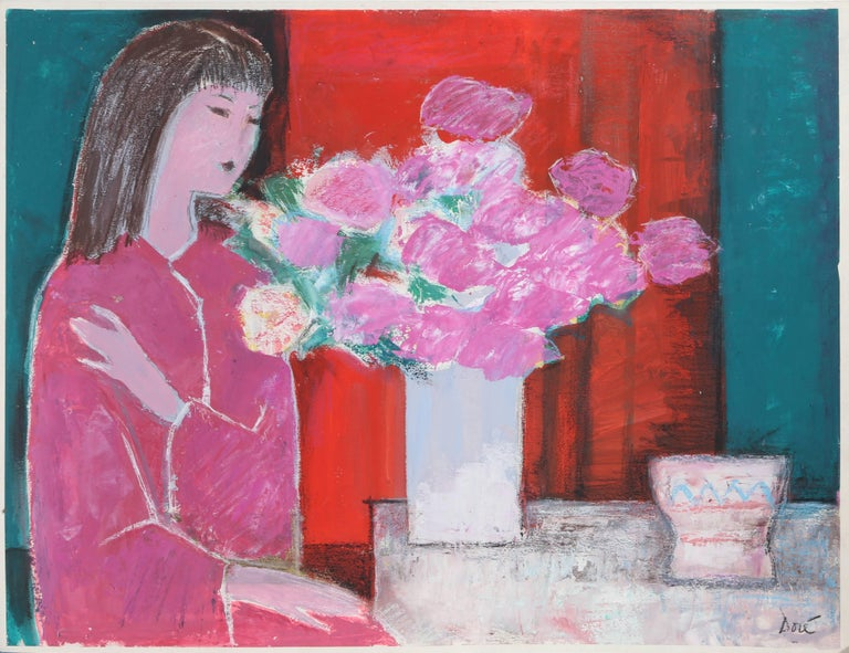 Jose Canes (Dore) Figurative Art - Woman in Pink with Flowers