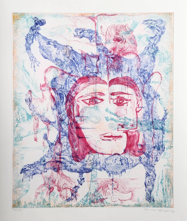 Artist: Bernard Schultze, German (1915 - 2005) Title: Hommage a Picasso Year: 1973 Medium: Etching, signed and numbered in pencil Edition: 75/90 Image Size: 21.5 x 17.5 Size: 30 x 21 in. (76.2 x 53.34 cm)