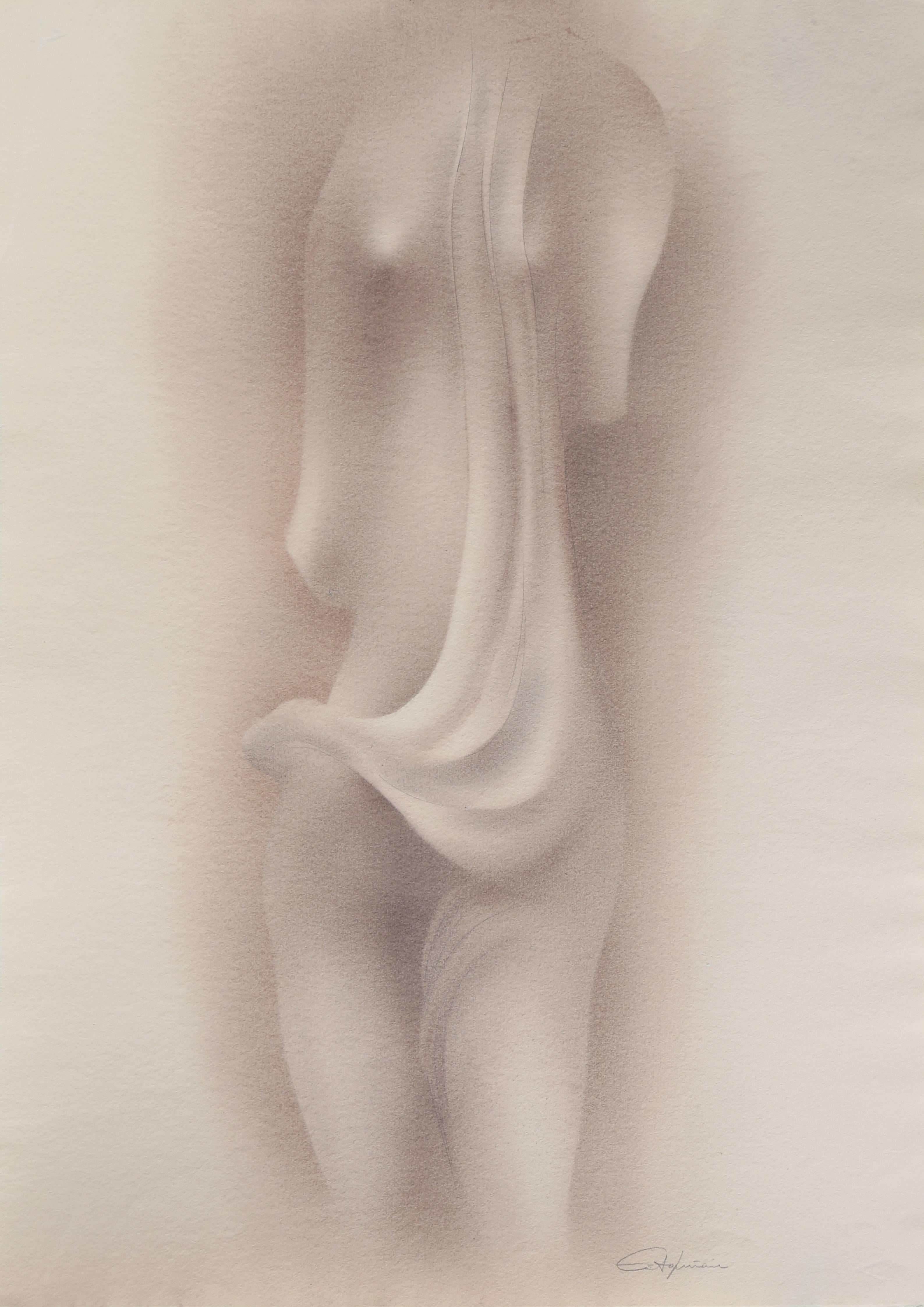 """""""Homenaje de Camilla Claudel 5,"""" Conte Crayon and Pencil on Alcantara, 1992"""