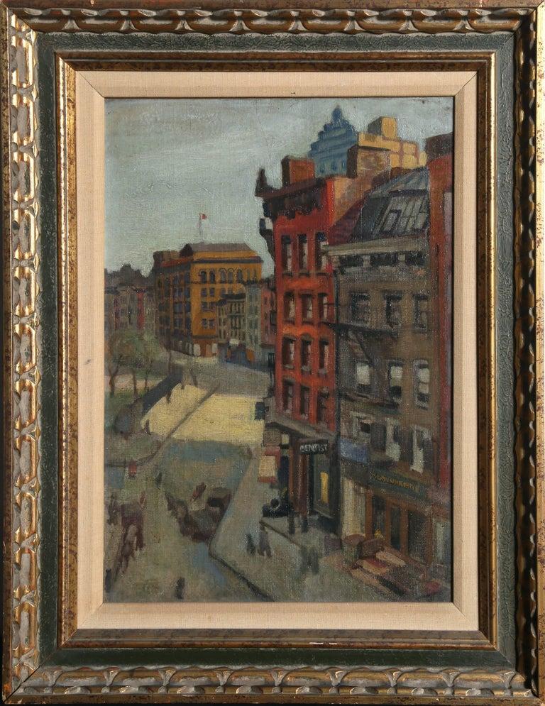 "Raphael Soyer Landscape Painting - ""City Street,"" Oil on Board, circa 1930"