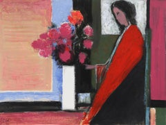 """""""Woman in Red,"""" Acrylic and Pastel on Paper, circa 1980"""
