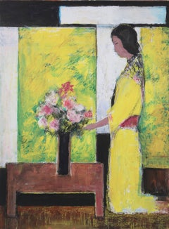 """Woman in Yellow,"" Acrylic and Pastel on Paper, circa 1980"