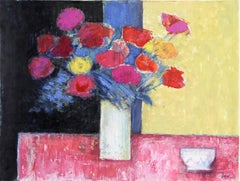 """Still Life with Flowers and Bowl,"" Acrylic and Pastel on Paper, circa 1980"