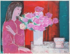 """Woman in Pink with Flowers,"" Acrylic and Pastel on Paper, circa 1980"