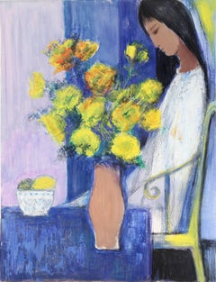 """Seated Woman with Yellow Flowers,"" Acrylic and Pastel on Paper, circa 1980"