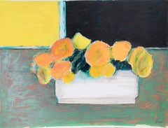 """""""Still Life with Yellow Flowers,"""" Acrylic and Pastel on Paper, circa 1980"""