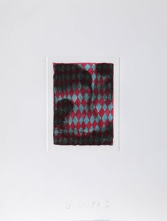 """Blue and Red Checkerboard,"" Etching with Aquatint, 1990"