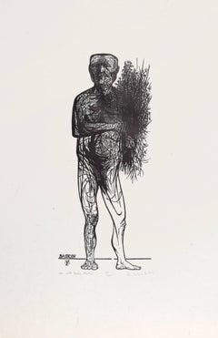 Man with Spring Flowers, Woodcut by Leonard Baskin