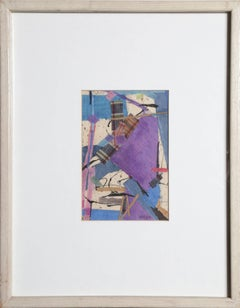 """""""Lavender, Blue, and Plaid,"""" Mixed Media Collage with Fabric, circa 1983"""