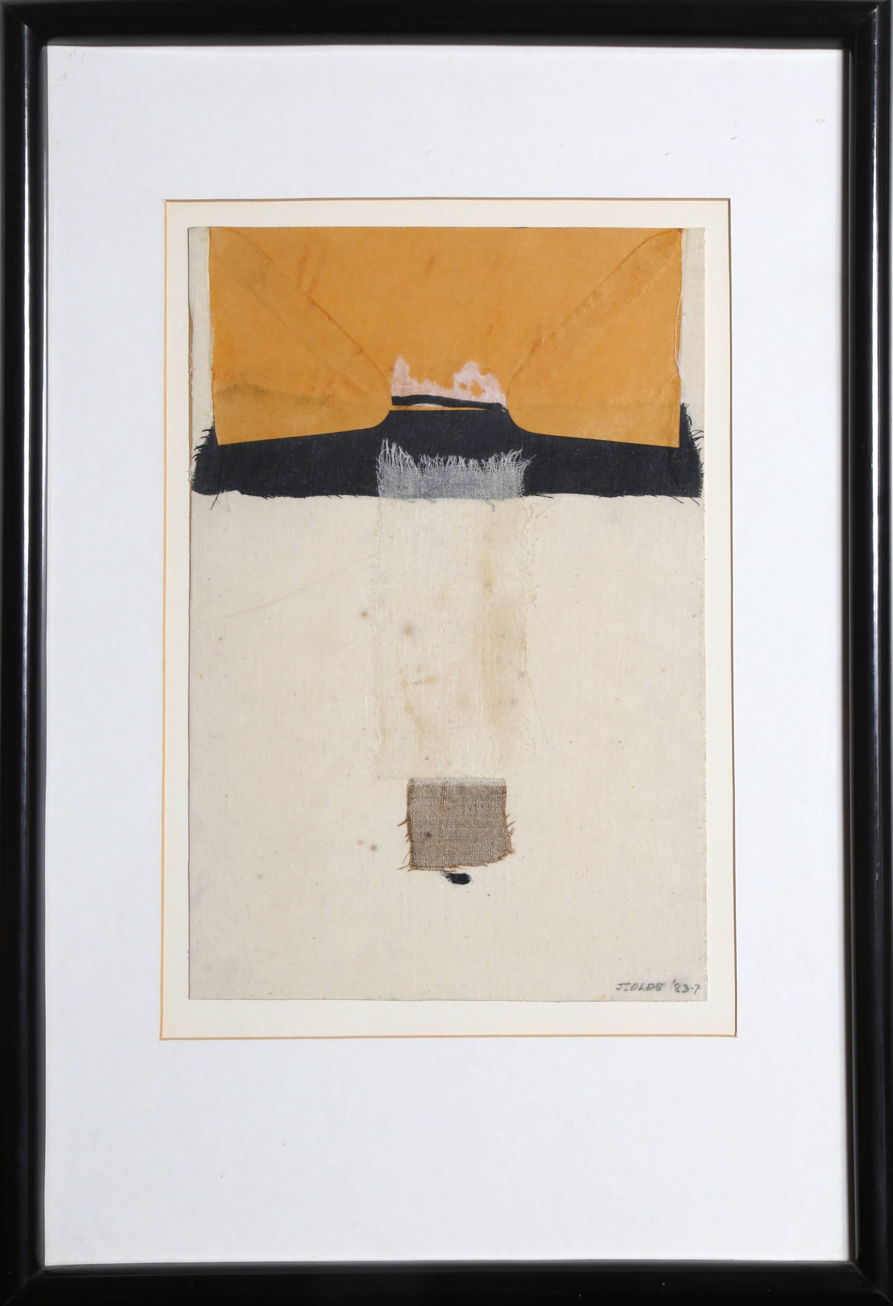 """""""Reaching,"""" Mixed Media Collage with Fabric, 1983"""