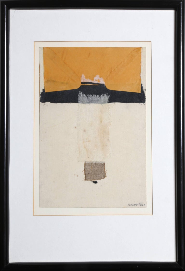 """""""Reaching,"""" Mixed Media Collage with Fabric, 1983 - Mixed Media Art by Jean Olds"""