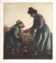 """""""Harvest (Sugar Beets),"""" Aquatint Etching, circa 1910"""