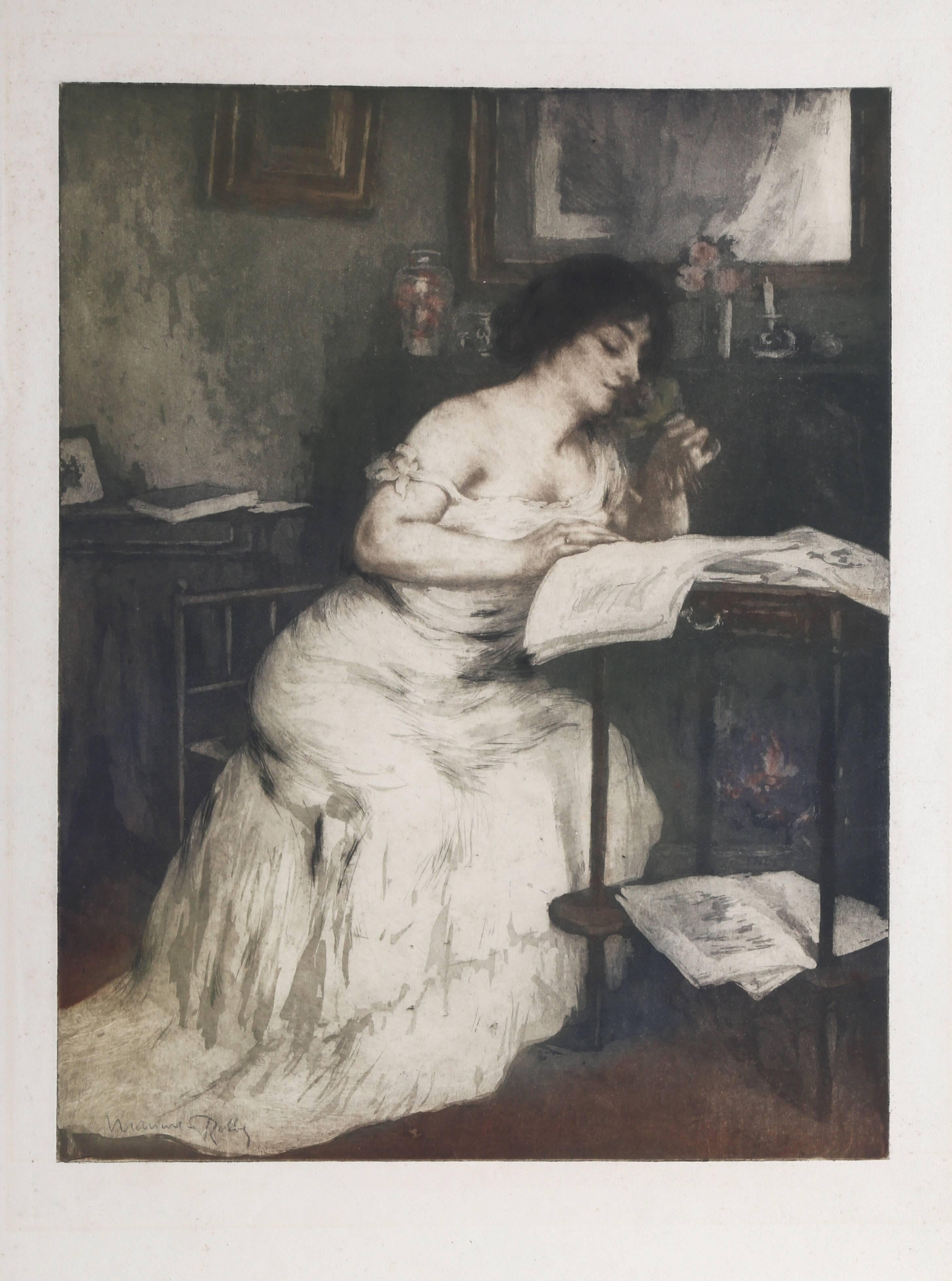 """""""Woman Reading,"""" Etching with Aquatint, circa 1955"""