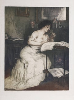"""Woman Reading,"" Etching with Aquatint, circa 1955"