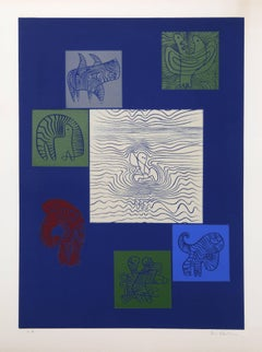 """Abstract with Animal Figures,"" Linocut Print, circa 1955"