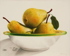 """Bowl of Pears,"" Large Acrylic Painting on Canvas, 1990"