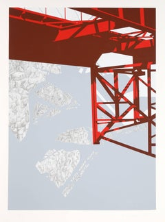 """Red Bridge,"" Serigraph on Arches, 1979"