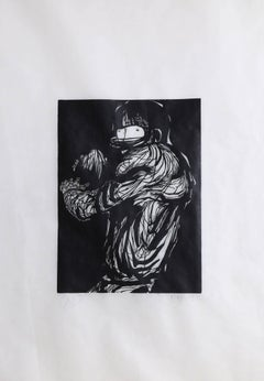 """The Football Player,"" Woodcut Print on Rice Paper, circa 1950"