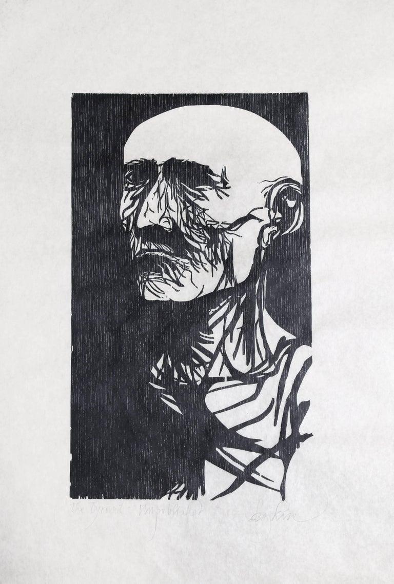"Leonard Baskin Portrait Print - ""The Tyrant,"" Woodcut Print on Rice Paper, circa 1952"