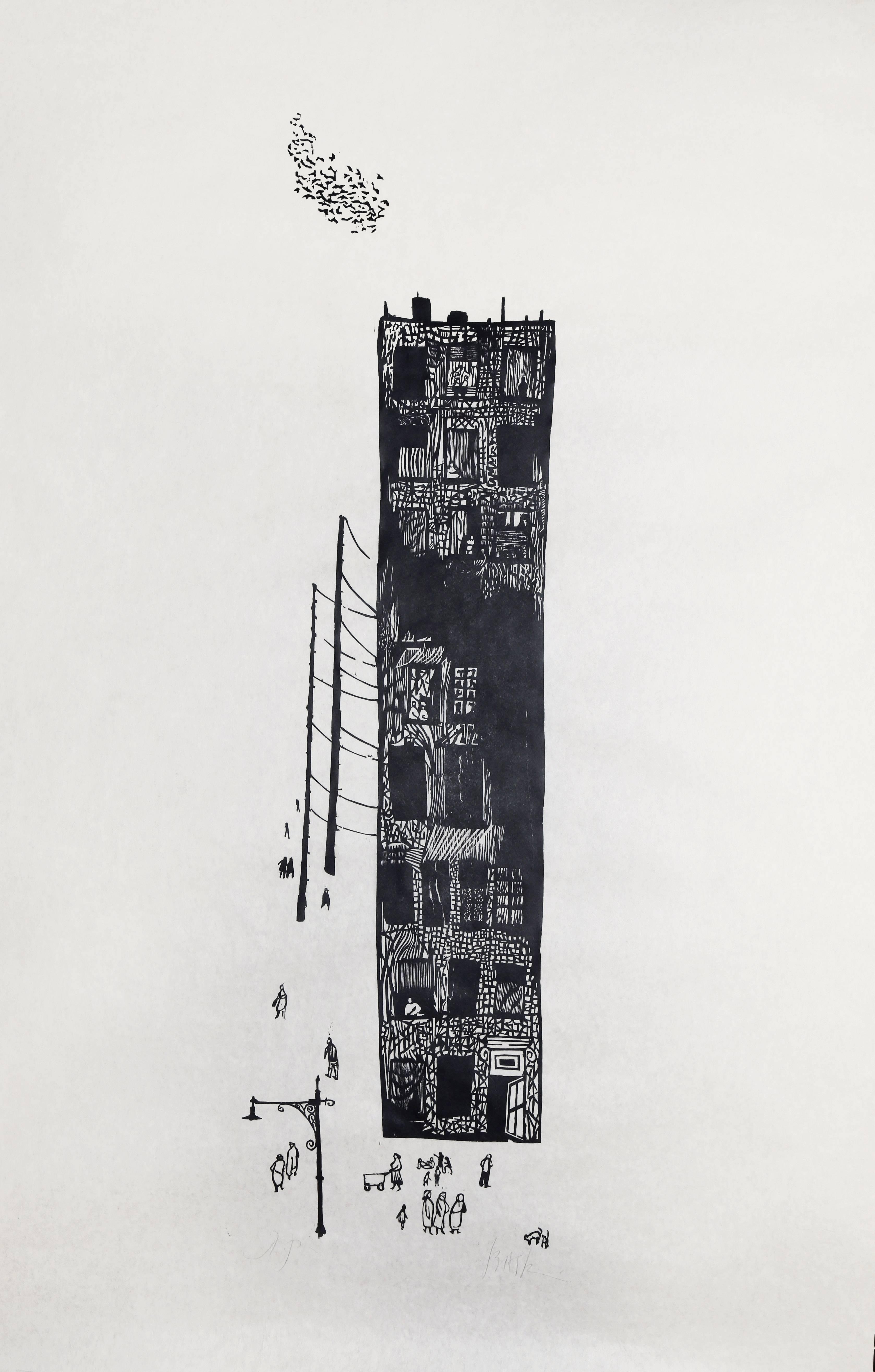 """Apartment,"" Woodcut Print on Rice Paper, circa 1950"