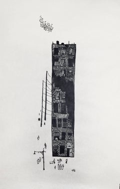 """Apartment,"" Woodcut Print on Rice Paper, circa 1950"