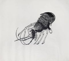 """French Prawn,"" Woodcut Print on Rice Paper, circa 1952"