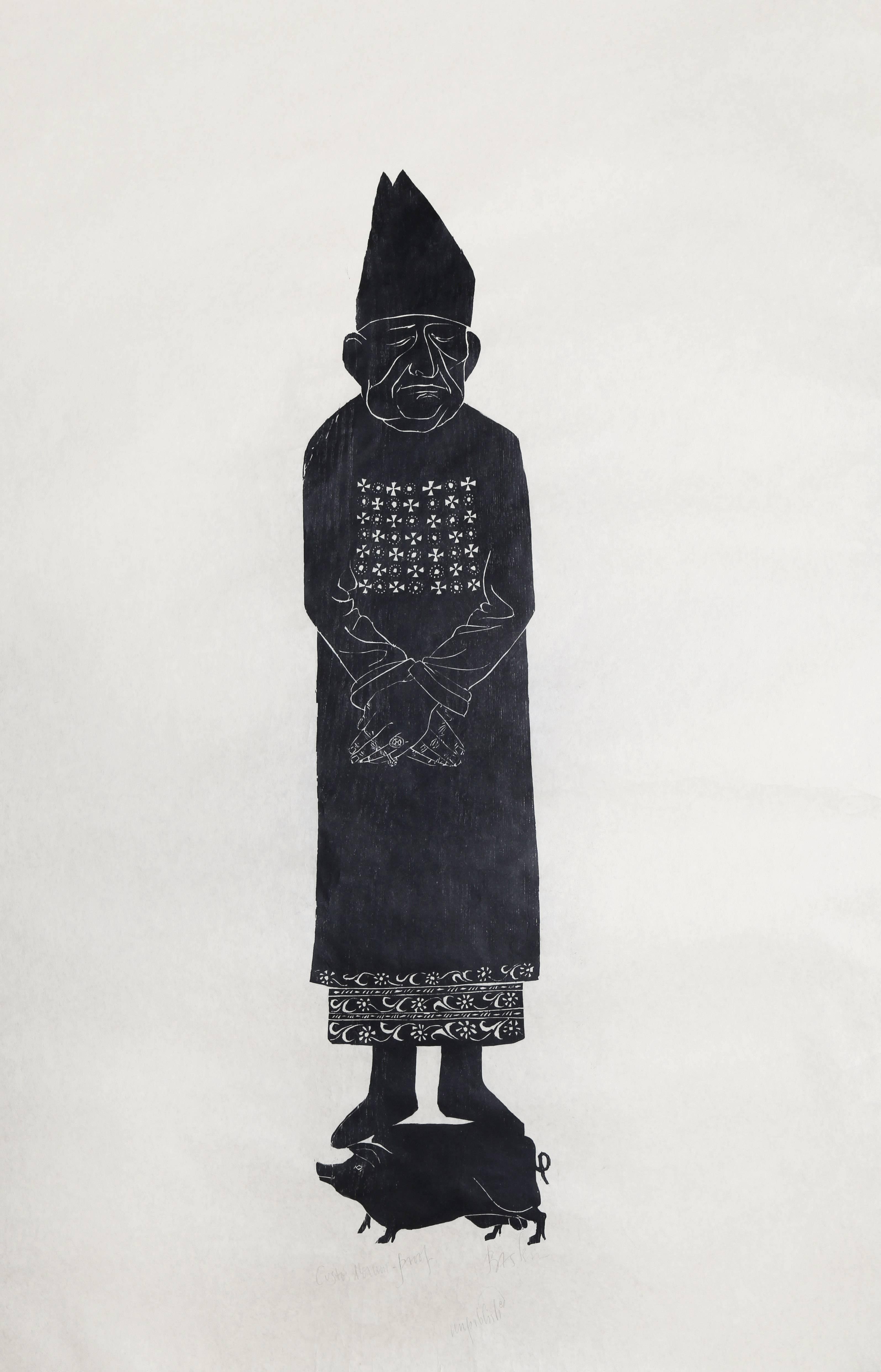 """""""Custos Morum (Guardian of Morals)"""" Woodcut Print on Rice Paper, circa 1950"""