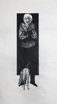"""Old Man and Dog,"" Woodcut Print on Rice Paper,"" circa 1970"