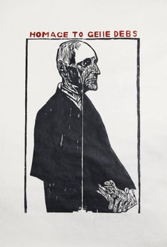 """Homage to Gene Debs,"" Woodcut Print on Rice Paper, 1949"
