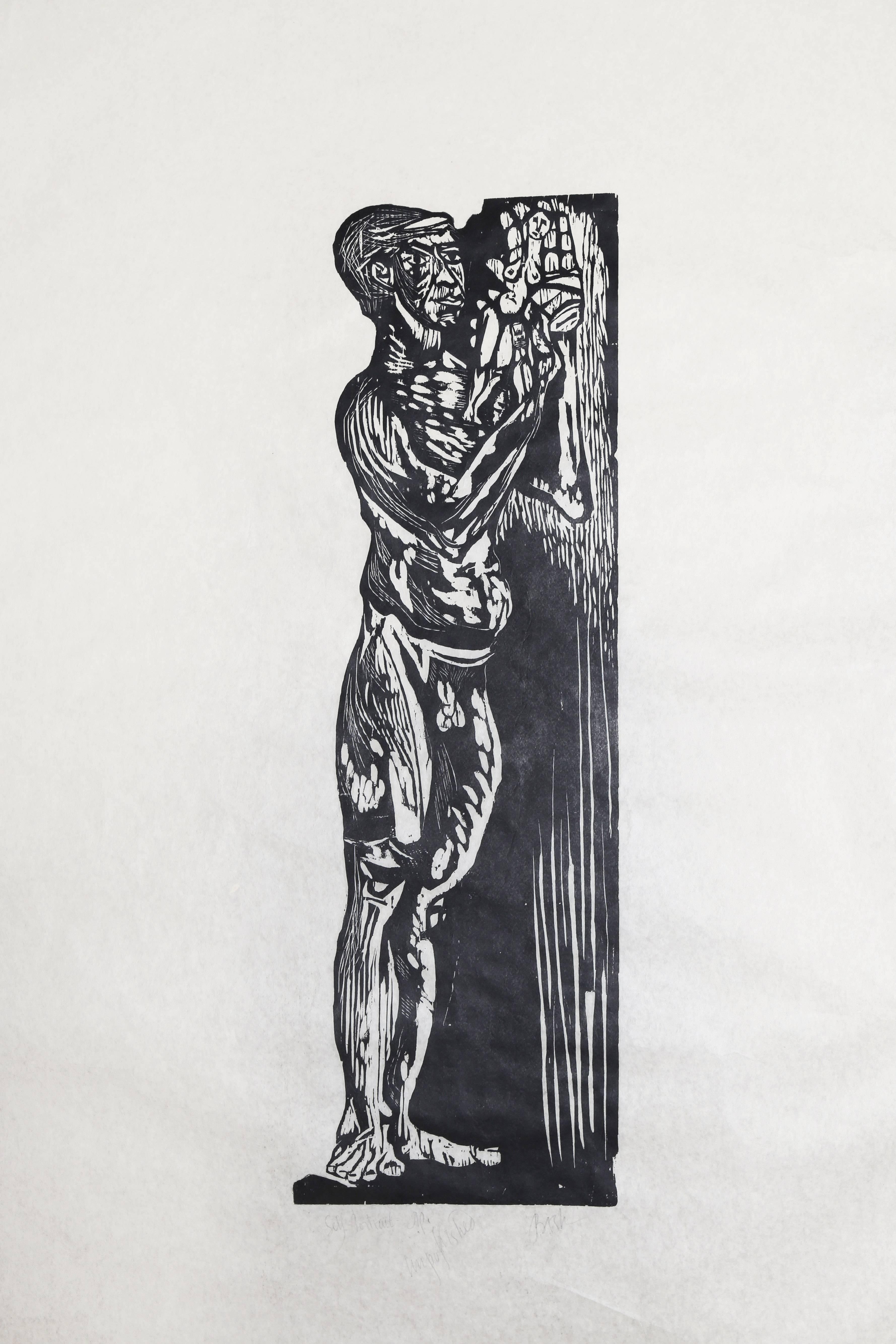 """Self Portrait,"" Woodcut Print on Rice Paper, circa 1950"