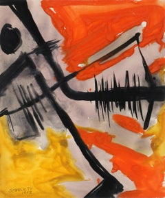 Abstract Expressionist Gouache Painting by Rolph Scarlett