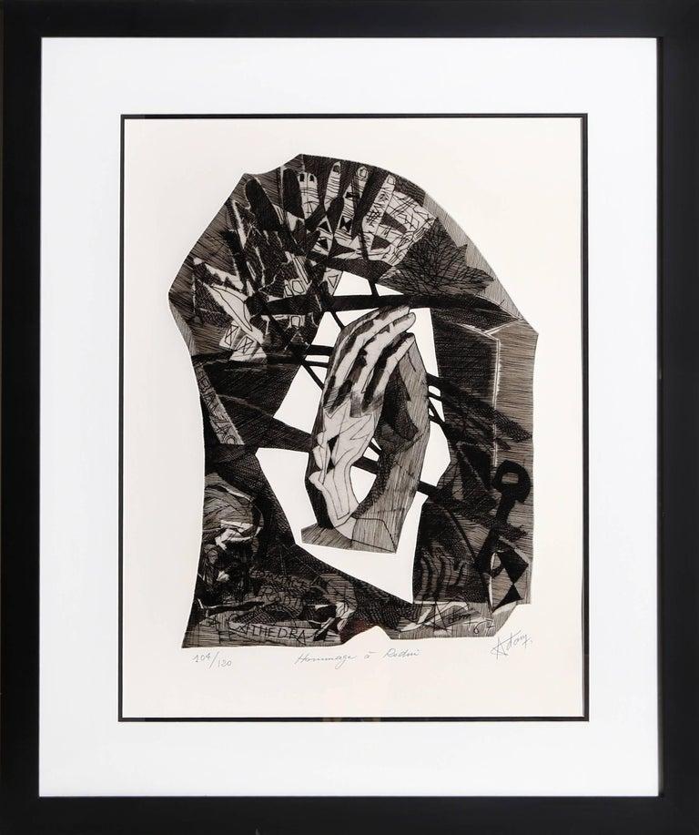 Henri-Georges Adam Figurative Print - Homage a Rodin