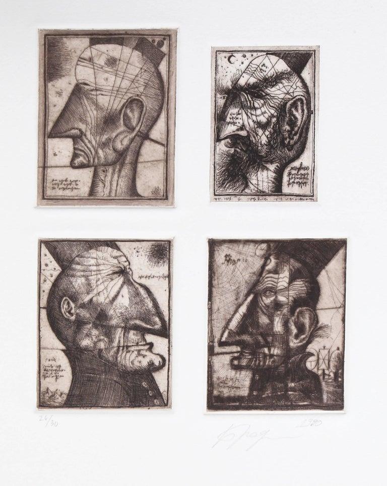 Alexander Brodsky and Ilya Utkin Figurative Print - Four Head Composite from Brodsky and Utkin: Projects 1981 - 1990