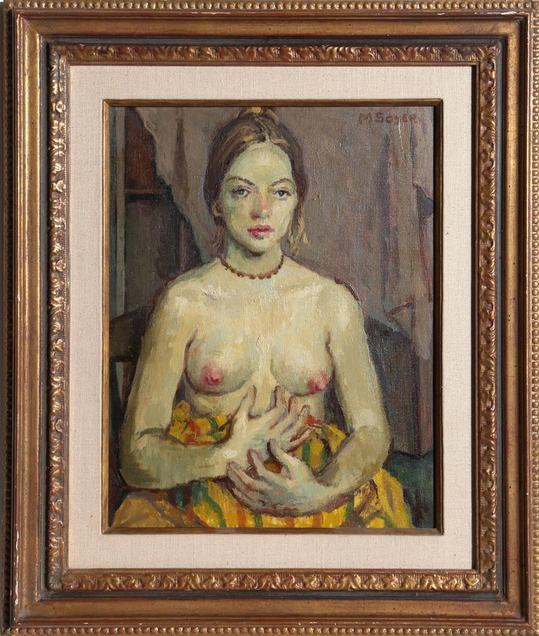 Moses Soyer Nude Painting - Seated Nude Posing