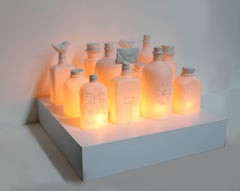 Bottles, Ceramic Sculpture with Lighting by Ilena Finocchi