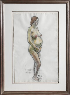 Standing Pregnant Nude, Original Drawing by Moses Soyer 1965
