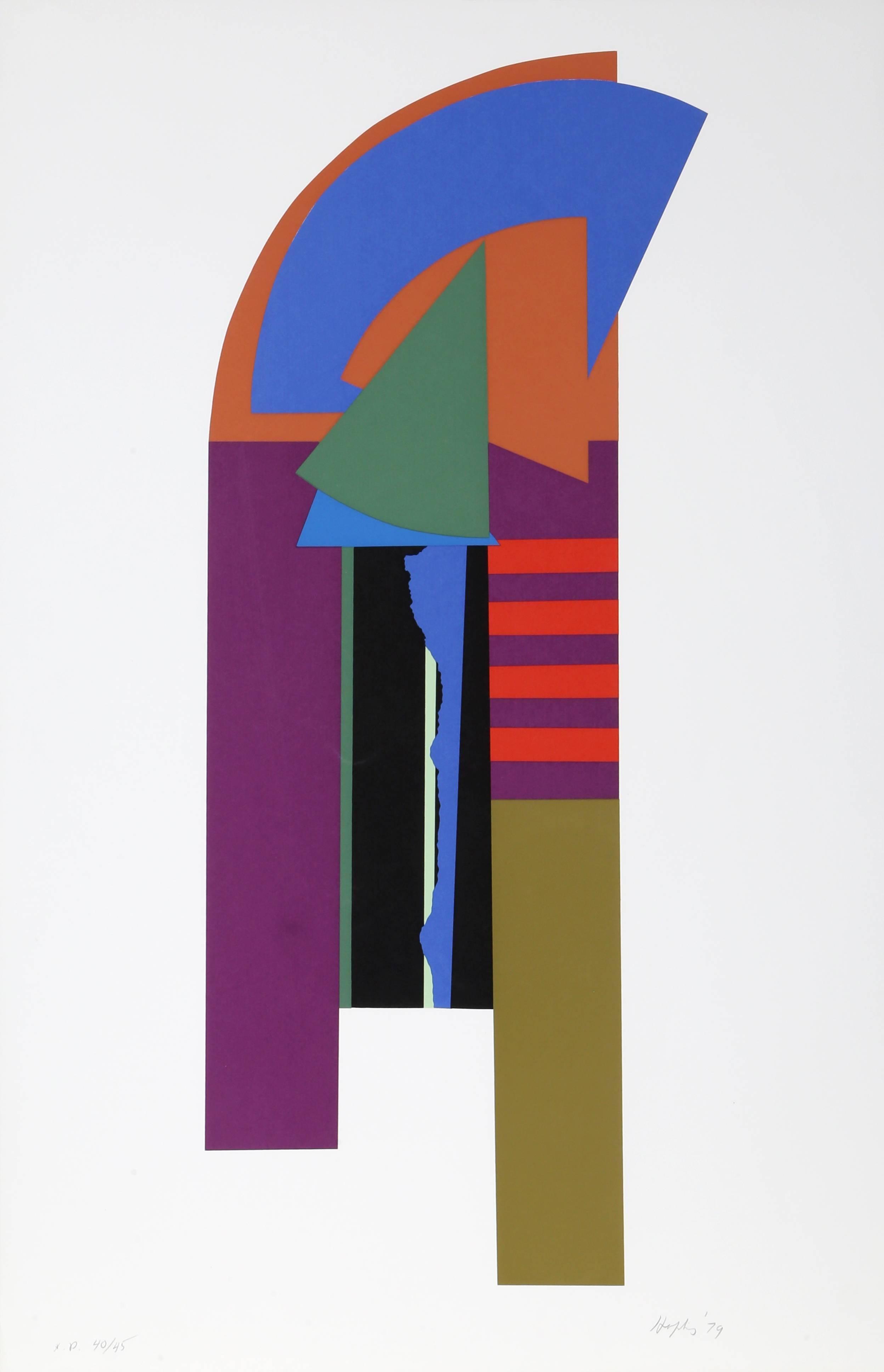 Guardian X, Geometric Abstract Silkscreen by Budd Hopkins
