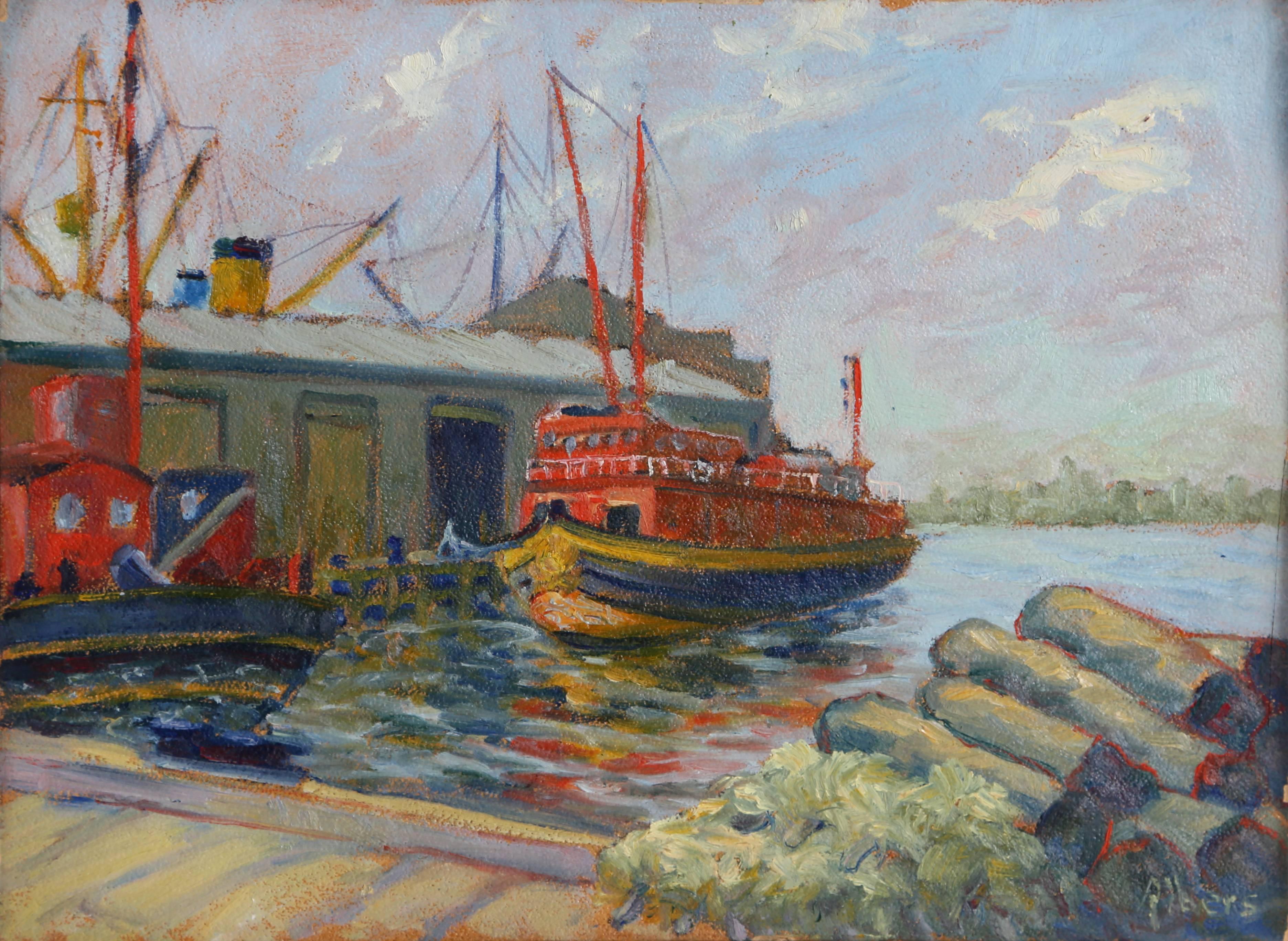 The Wildwood, New York Harbor painting circa 1940