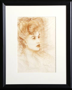 Portrait of a Woman, Original Drawing by Dimitrie Berea