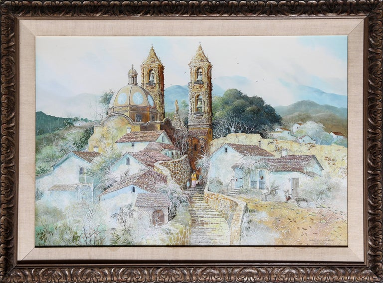 Franklin Moss Hamilton Landscape Painting - On the Steps of Santa Prisca, Taxco Mexico