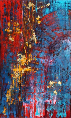 RB48-3017 Abstract Oil Painting with Gold-Leaf