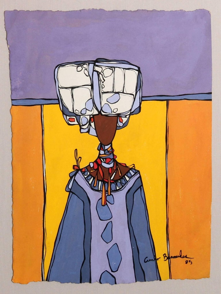 Woman with Headdress and Necklace - Contemporary Painting by Cundo Bermúdez