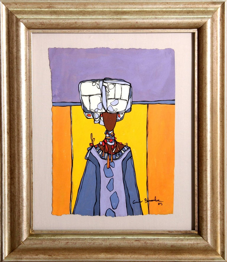 Cundo Bermúdez Figurative Painting - Woman with Headdress and Necklace