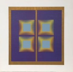 Syl Labrot, Purple and Gold Geometric Abstract Silkscreen